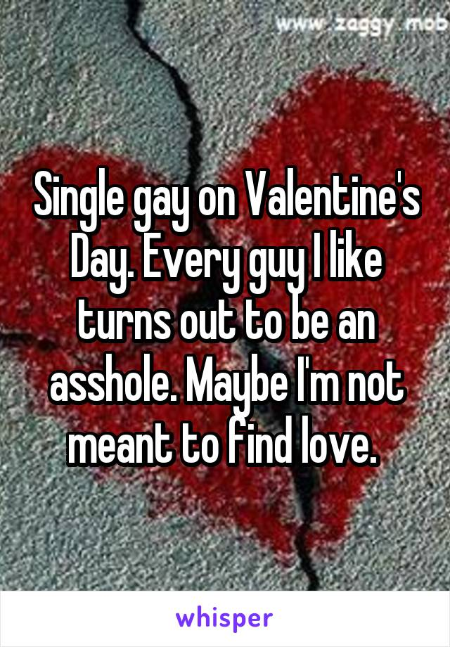 Single gay on Valentine's Day. Every guy I like turns out to be an asshole. Maybe I'm not meant to find love.
