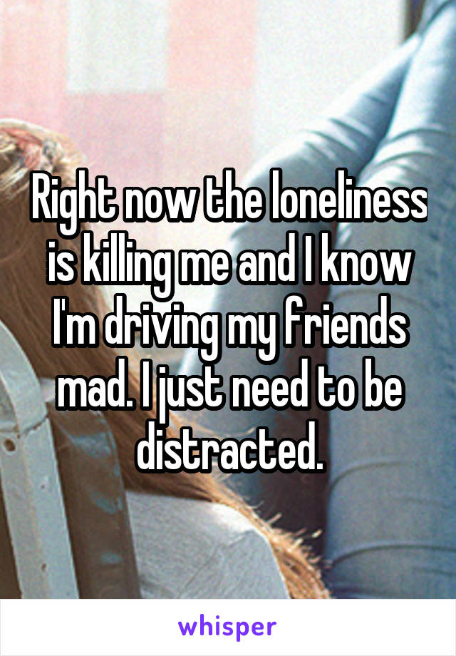 Right now the loneliness is killing me and I know I'm driving my friends mad. I just need to be distracted.