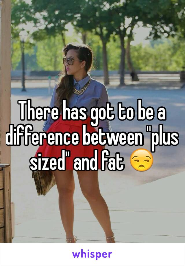 "There has got to be a difference between ""plus sized"" and fat 😒"