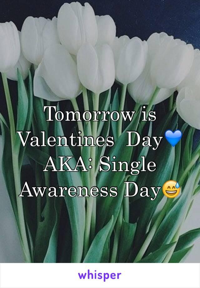 Tomorrow is Valentines  Day💙  AKA: Single Awareness Day😅