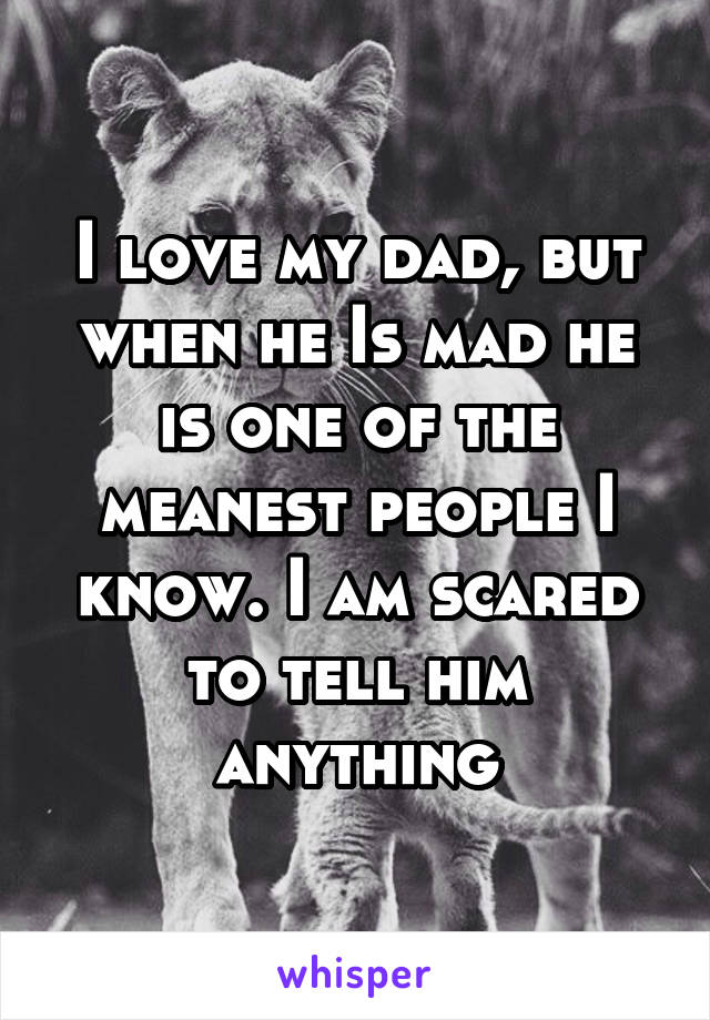 I love my dad, but when he Is mad he is one of the meanest people I know. I am scared to tell him anything