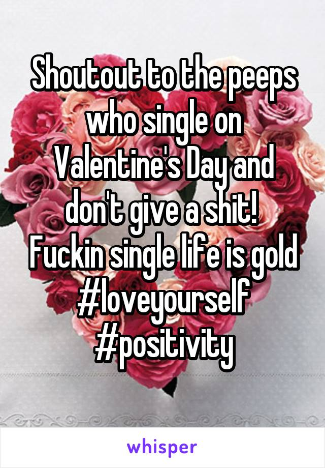 Shoutout to the peeps who single on Valentine's Day and don't give a shit!  Fuckin single life is gold #loveyourself #positivity