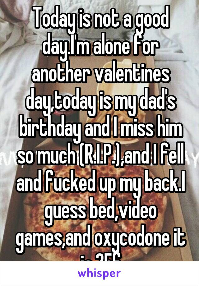 Today is not a good day.I'm alone for another valentines day,today is my dad's birthday and I miss him so much (R.I.P.),and I fell and fucked up my back.I guess bed,video games,and oxycodone it is.25f