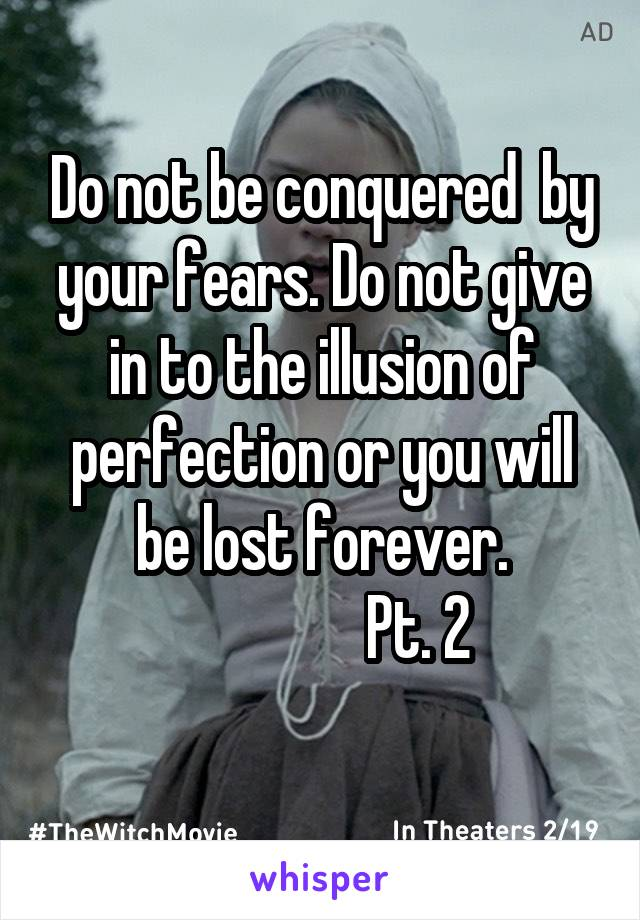 Do not be conquered  by your fears. Do not give in to the illusion of perfection or you will be lost forever.                 Pt. 2