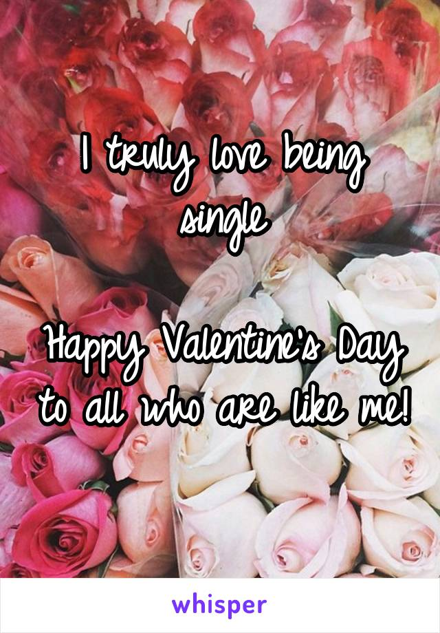 I truly love being single  Happy Valentine's Day to all who are like me!