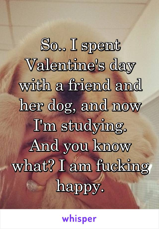 So.. I spent Valentine's day with a friend and her dog, and now I'm studying. And you know what? I am fucking happy.