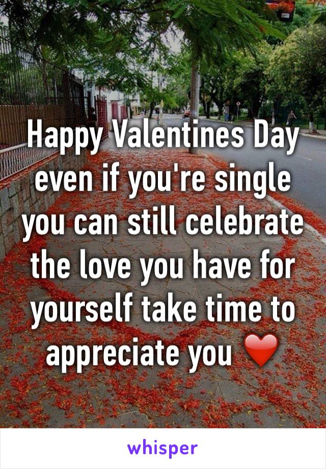 Happy Valentines Day even if you're single you can still celebrate the love you have for yourself take time to appreciate you ❤️