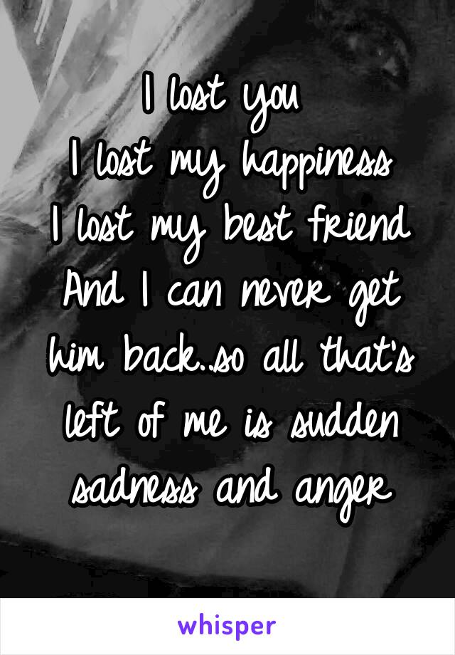 I lost you  I lost my happiness I lost my best friend And I can never get him back..so all that's left of me is sudden sadness and anger