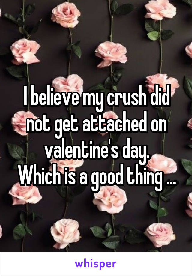 I believe my crush did not get attached on valentine's day. Which is a good thing ...