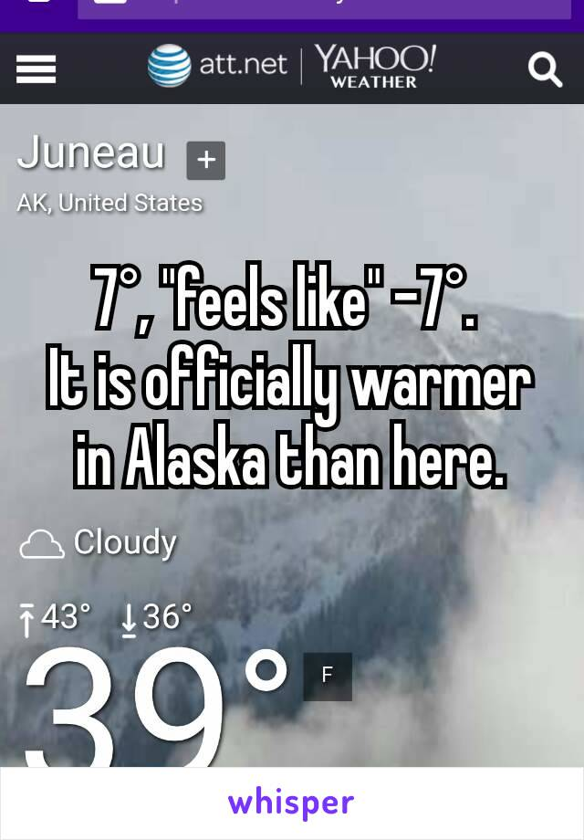 "7°, ""feels like"" -7°.  It is officially warmer in Alaska than here."
