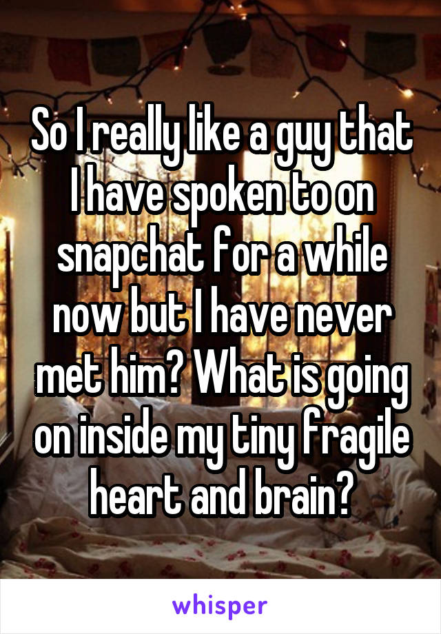 So I really like a guy that I have spoken to on snapchat for a while now but I have never met him? What is going on inside my tiny fragile heart and brain?