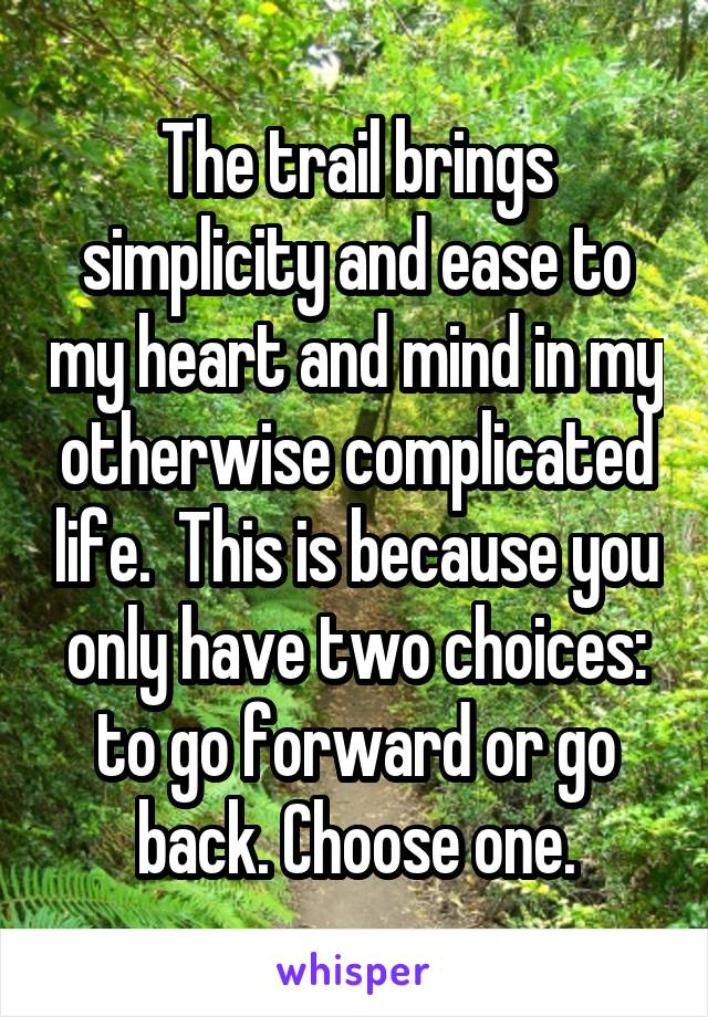 The trail brings simplicity and ease to my heart and mind in my otherwise complicated life.  This is because you only have two choices: to go forward or go back. Choose one.
