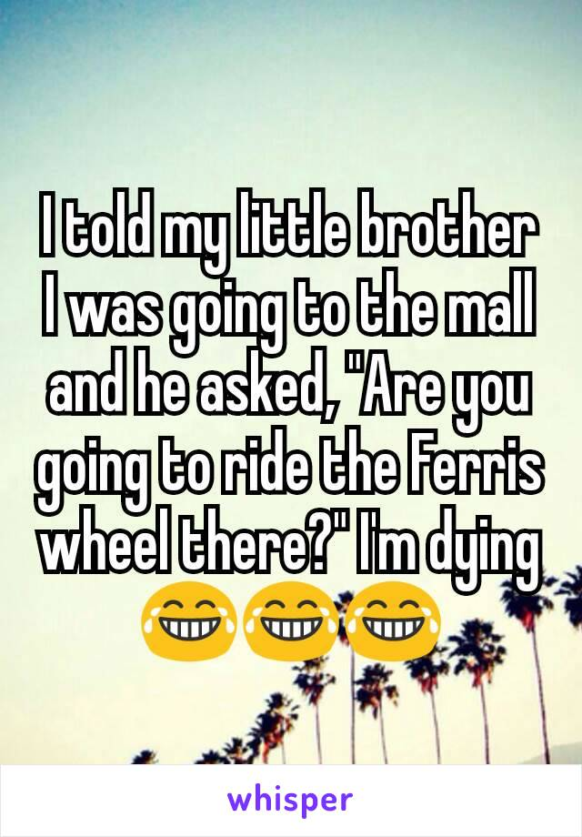 """I told my little brother I was going to the mall and he asked, """"Are you going to ride the Ferris wheel there?"""" I'm dying 😂😂😂"""