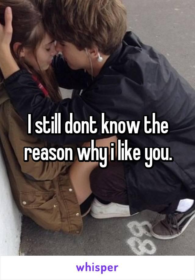 I still dont know the reason why i like you.