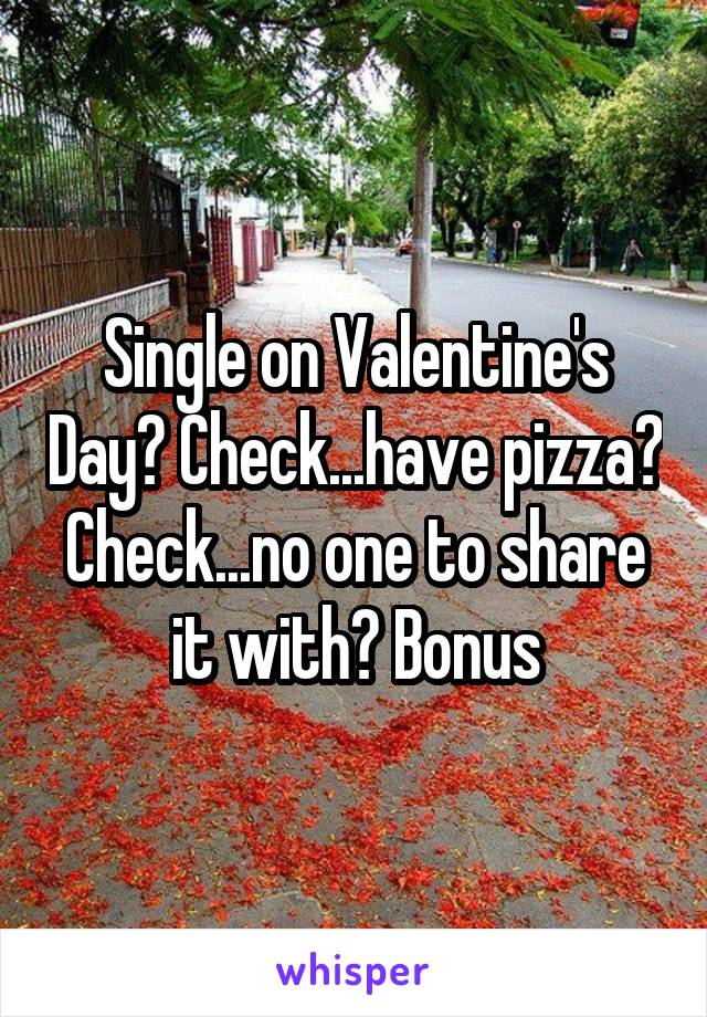 Single on Valentine's Day? Check...have pizza? Check...no one to share it with? Bonus