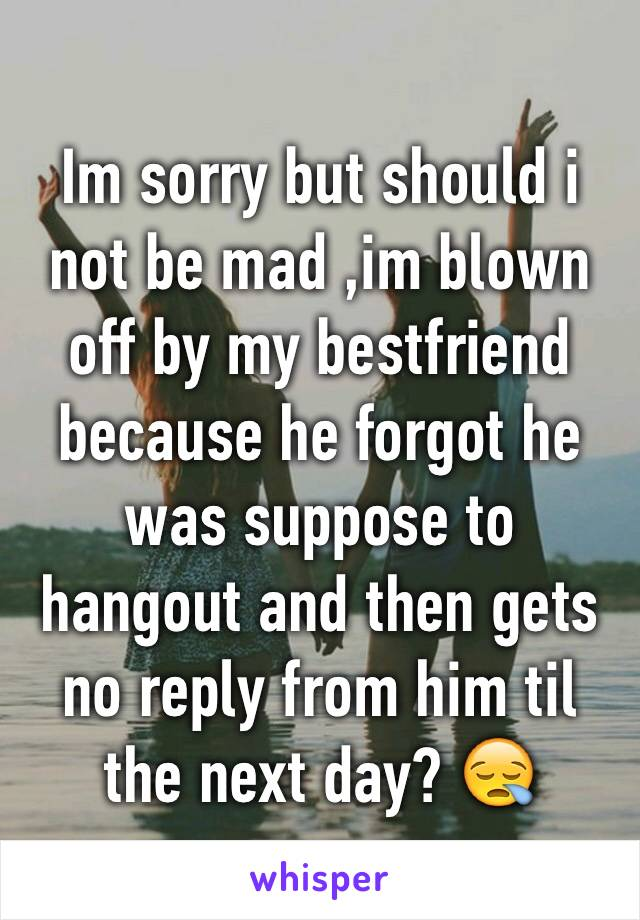 Im sorry but should i not be mad ,im blown off by my bestfriend because he forgot he was suppose to hangout and then gets no reply from him til the next day? 😪