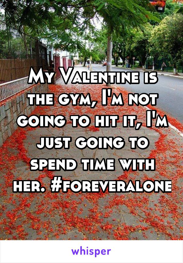 My Valentine is the gym, I'm not going to hit it, I'm just going to spend time with her. #foreveralone