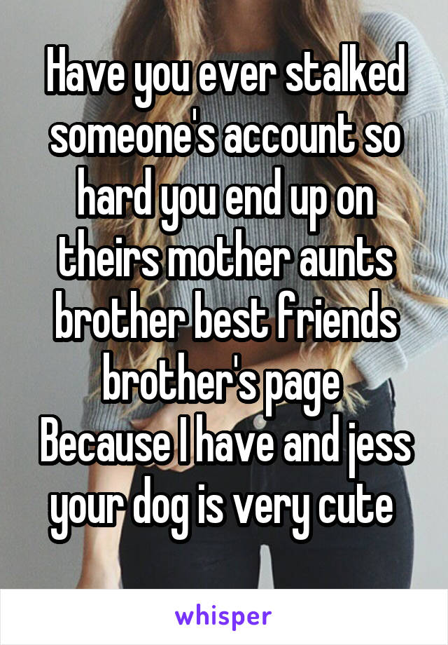 Have you ever stalked someone's account so hard you end up on theirs mother aunts brother best friends brother's page  Because I have and jess your dog is very cute