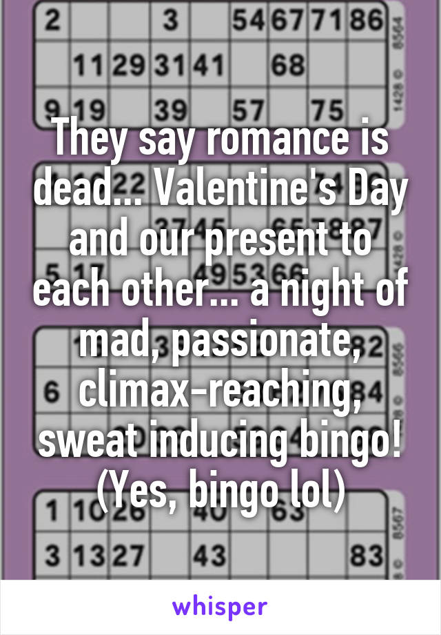 They say romance is dead... Valentine's Day and our present to each other... a night of mad, passionate, climax-reaching, sweat inducing bingo! (Yes, bingo lol)