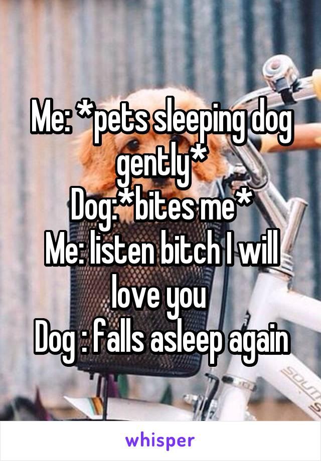 Me: *pets sleeping dog gently* Dog:*bites me* Me: listen bitch I will love you  Dog : falls asleep again