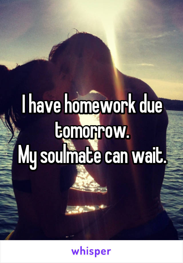 I have homework due tomorrow. My soulmate can wait.