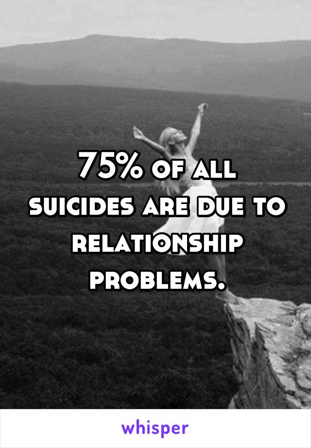 75% of all suicides are due to relationship problems.