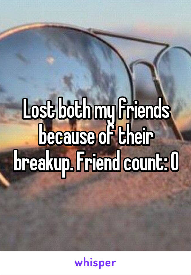 Lost both my friends because of their breakup. Friend count: 0