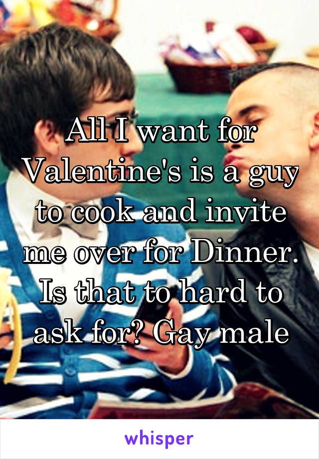 All I want for Valentine's is a guy to cook and invite me over for Dinner. Is that to hard to ask for? Gay male
