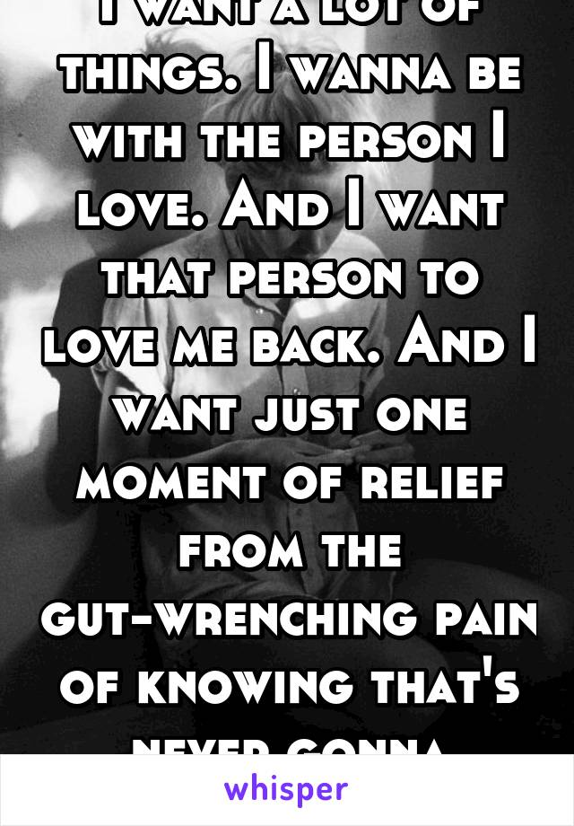 I want a lot of things. I wanna be with the person I love. And I want that person to love me back. And I want just one moment of relief from the gut-wrenching pain of knowing that's never gonna happen