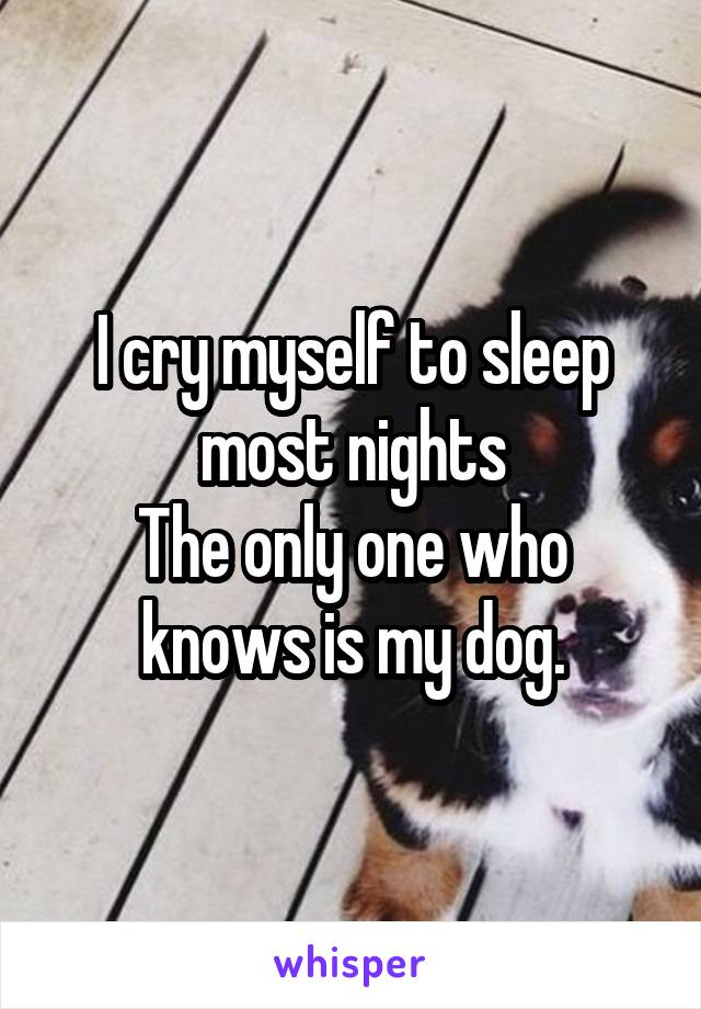 I cry myself to sleep most nights The only one who knows is my dog.
