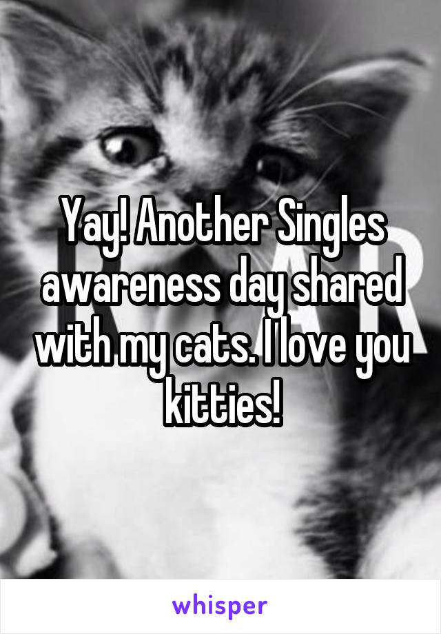 Yay! Another Singles awareness day shared with my cats. I love you kitties!
