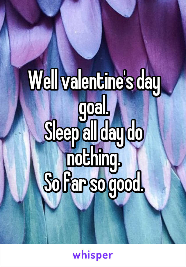 Well valentine's day goal. Sleep all day do nothing. So far so good.