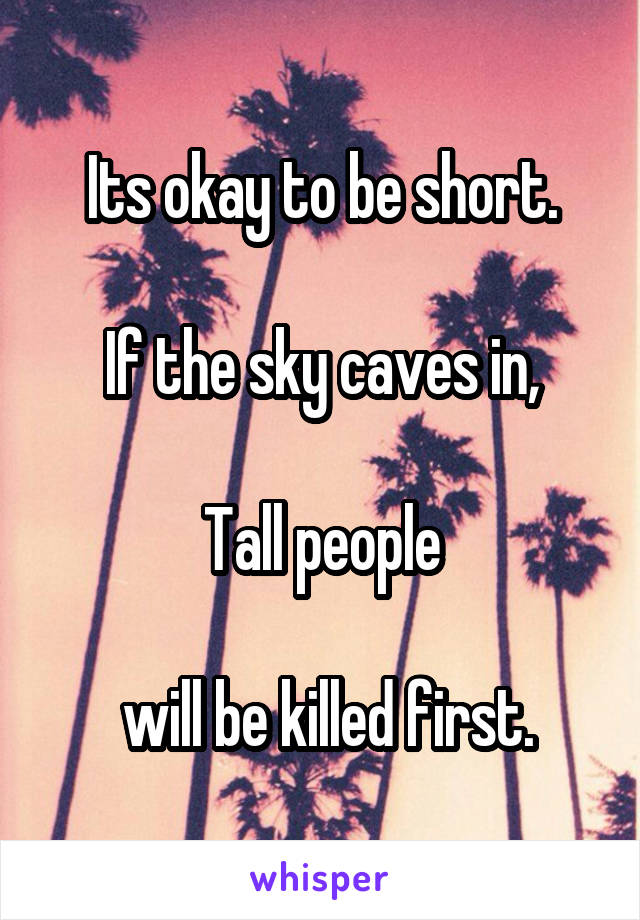 Its okay to be short.  If the sky caves in,  Tall people   will be killed first.