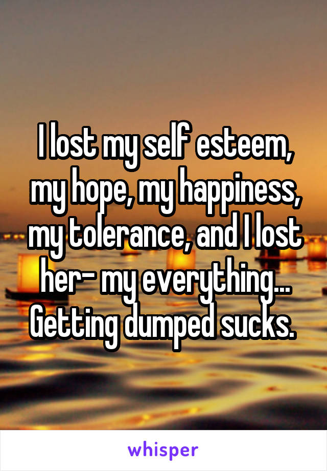 I lost my self esteem, my hope, my happiness, my tolerance, and I lost her- my everything... Getting dumped sucks.