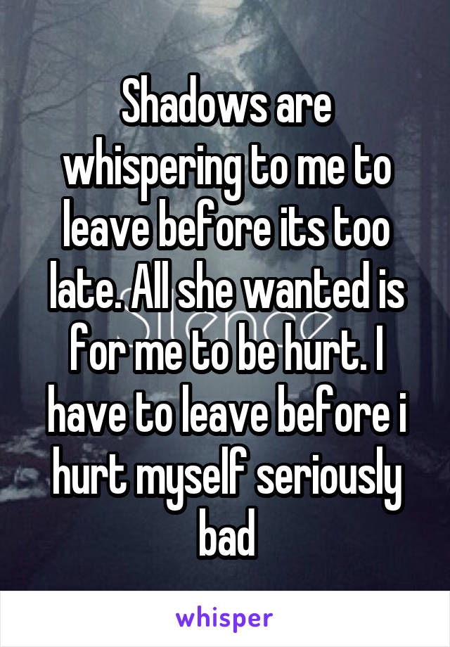 Shadows are whispering to me to leave before its too late. All she wanted is for me to be hurt. I have to leave before i hurt myself seriously bad