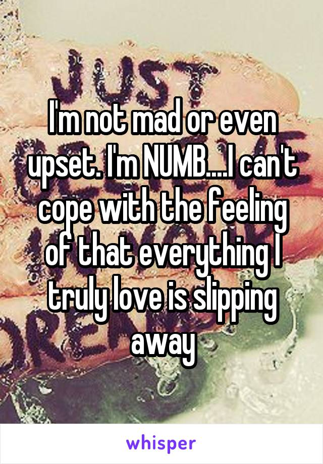 I'm not mad or even upset. I'm NUMB....I can't cope with the feeling of that everything I truly love is slipping away