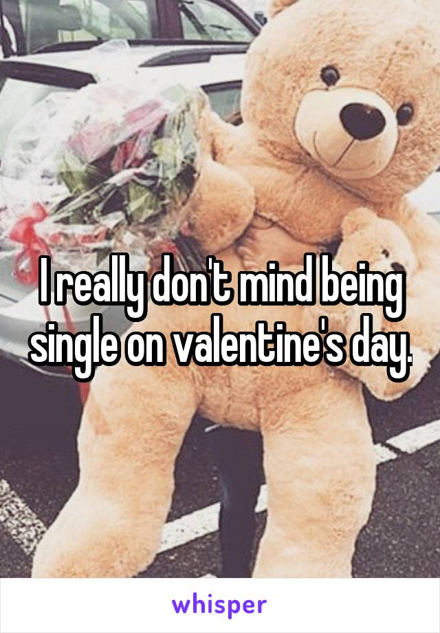 I really don't mind being single on valentine's day.