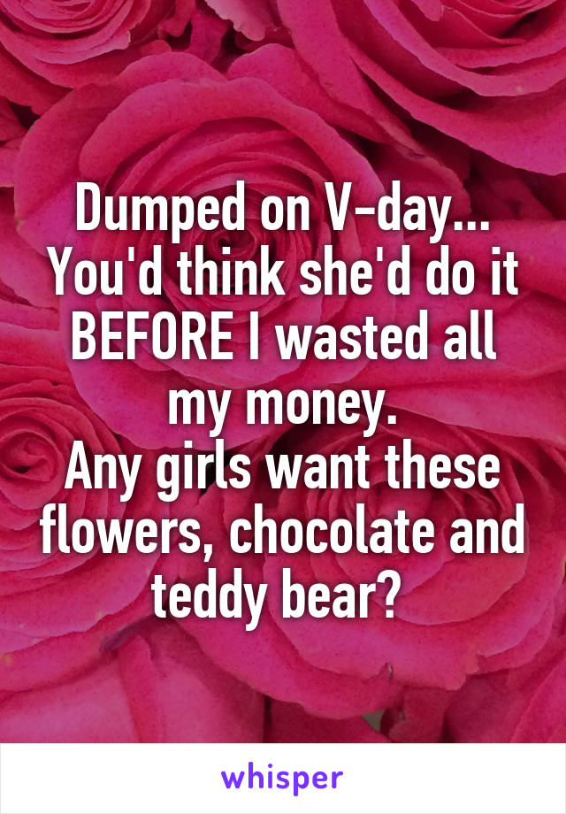 Dumped on V-day... You'd think she'd do it BEFORE I wasted all my money. Any girls want these flowers, chocolate and teddy bear?