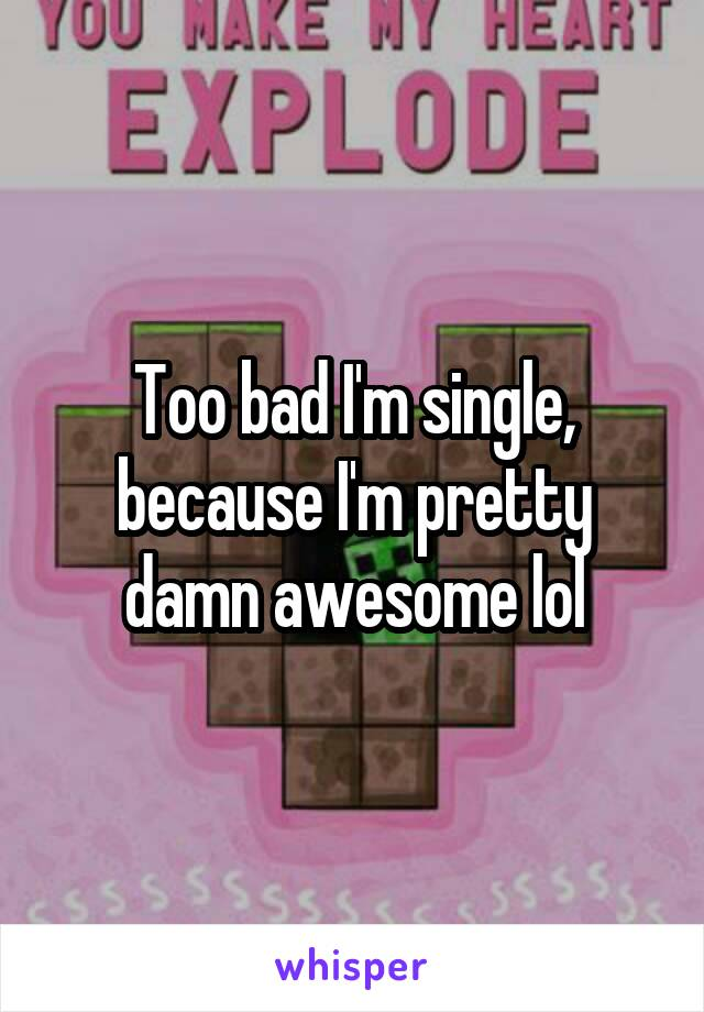 Too bad I'm single, because I'm pretty damn awesome lol