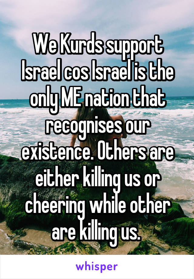 We Kurds support Israel cos Israel is the only ME nation that recognises our existence. Others are either killing us or cheering while other are killing us.