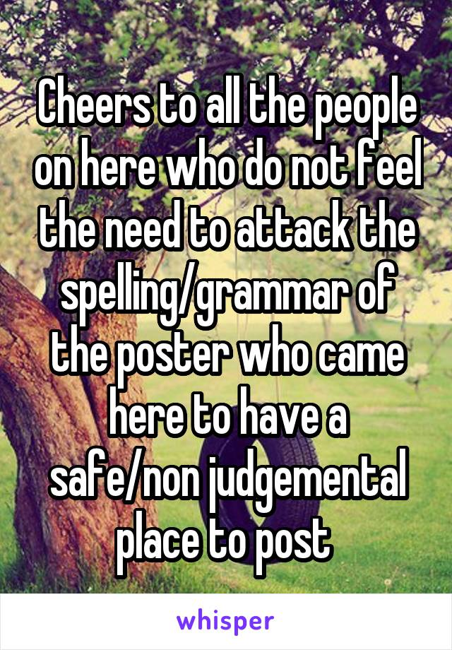 Cheers to all the people on here who do not feel the need to attack the spelling/grammar of the poster who came here to have a safe/non judgemental place to post
