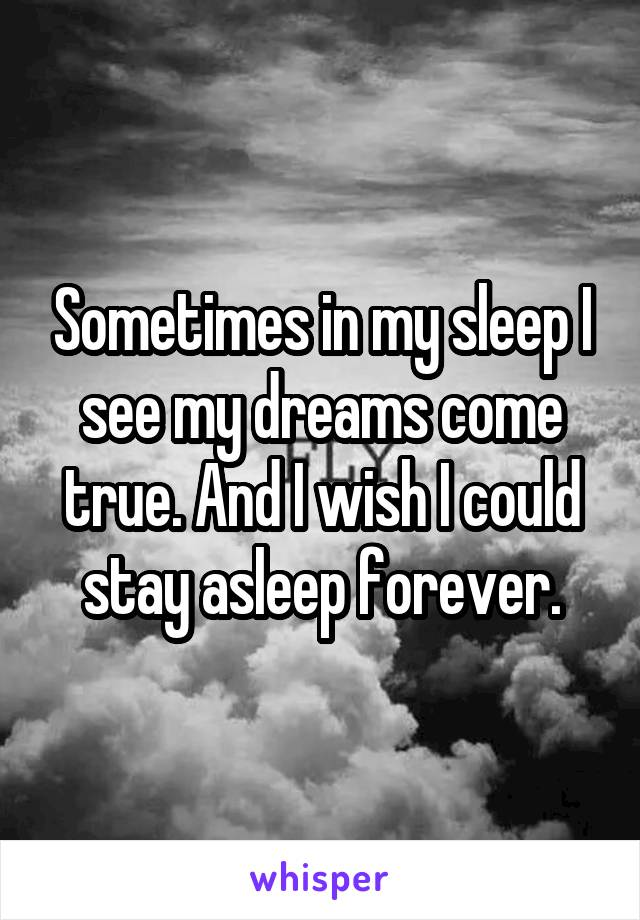 Sometimes in my sleep I see my dreams come true. And I wish I could stay asleep forever.