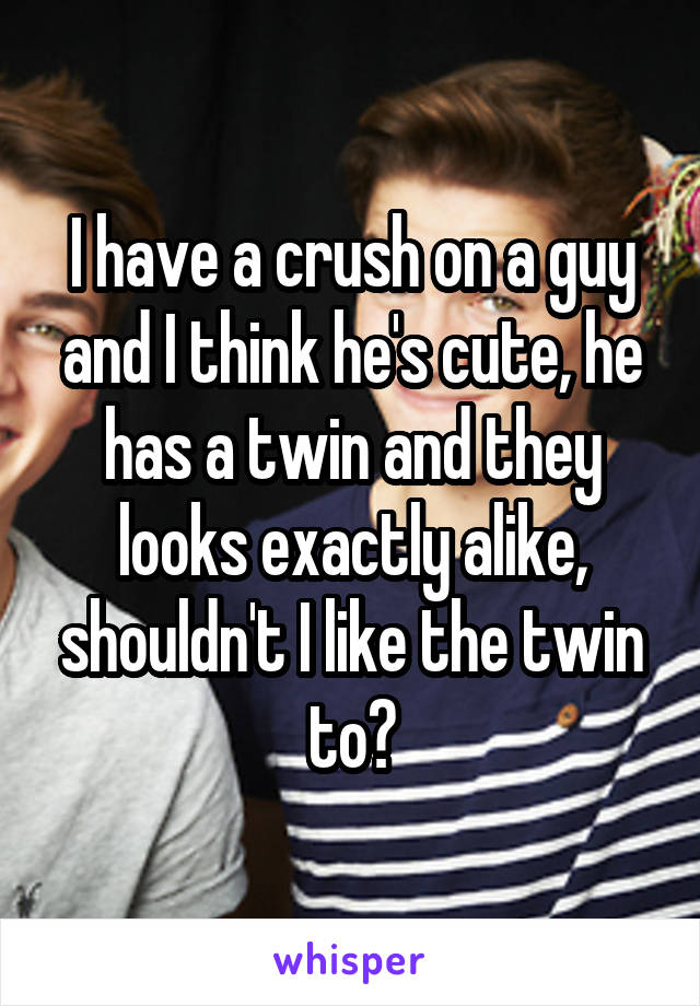 I have a crush on a guy and I think he's cute, he has a twin and they looks exactly alike, shouldn't I like the twin to?