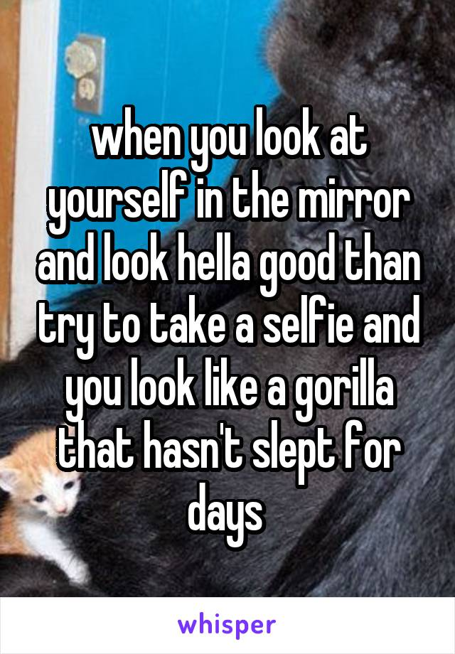 when you look at yourself in the mirror and look hella good than try to take a selfie and you look like a gorilla that hasn't slept for days