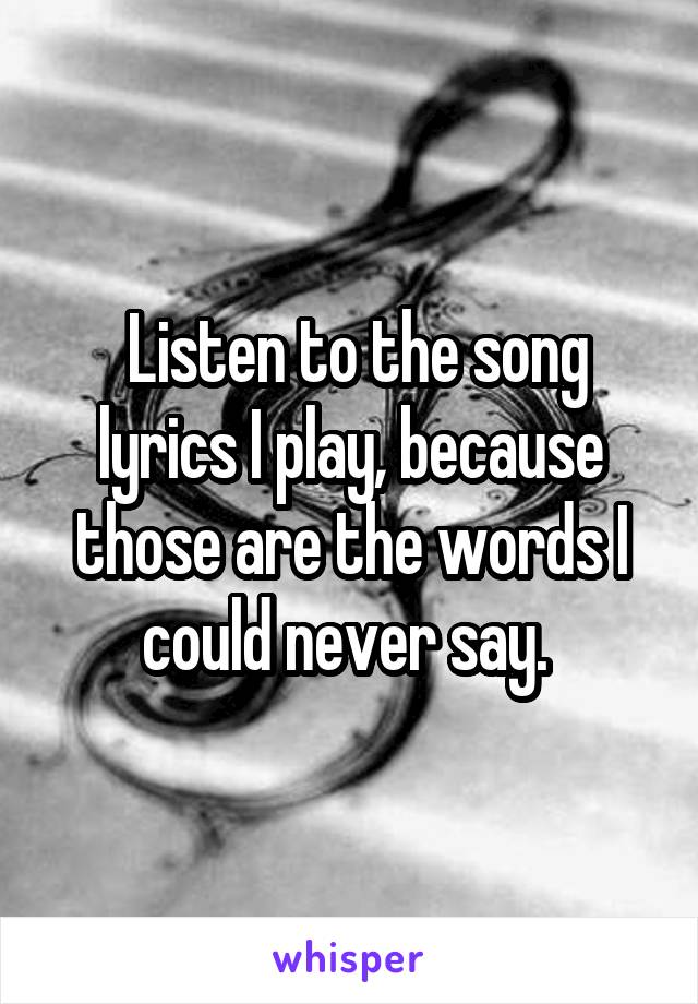 Listen to the song lyrics I play, because those are the words I could never say.