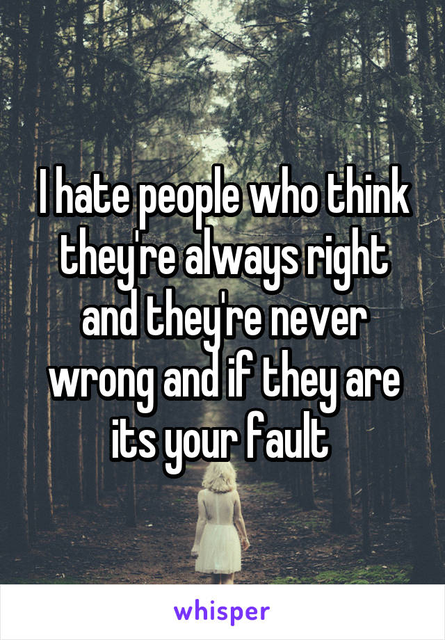 I hate people who think they're always right and they're never wrong and if they are its your fault
