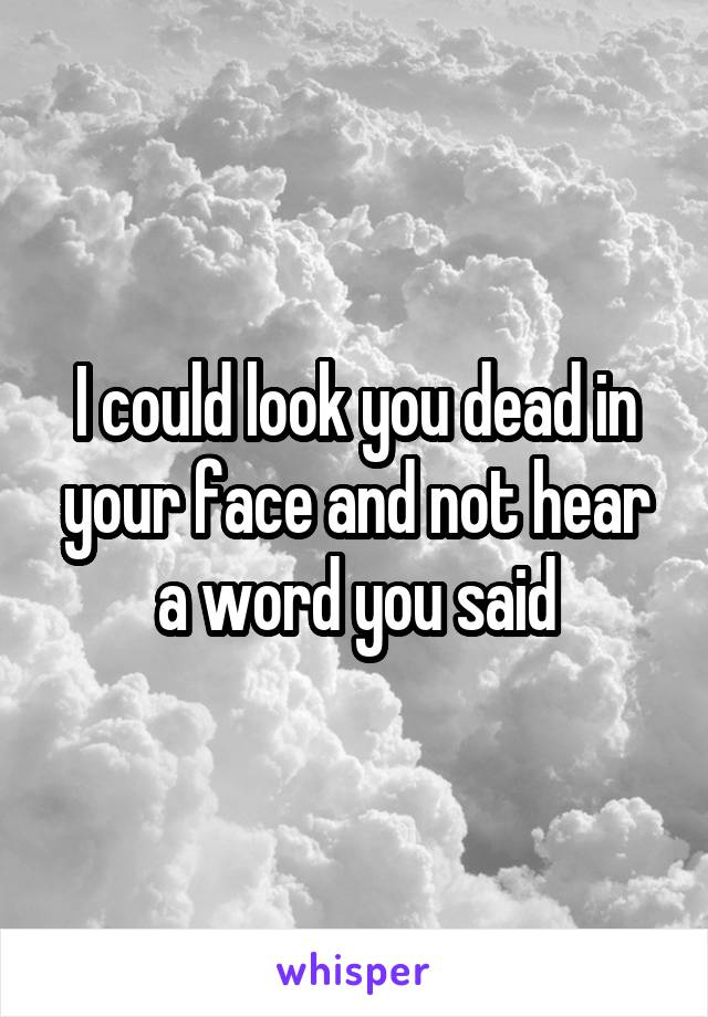 I could look you dead in your face and not hear a word you said