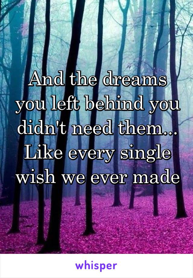 And the dreams you left behind you didn't need them... Like every single wish we ever made