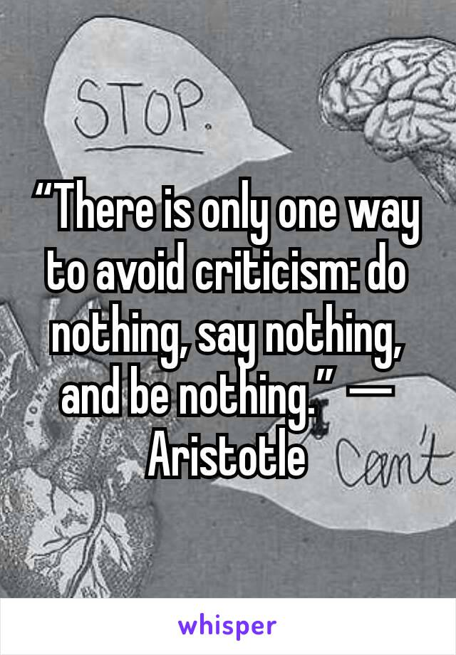 """There is only one way to avoid criticism: do nothing, say nothing, and be nothing."" ― Aristotle"