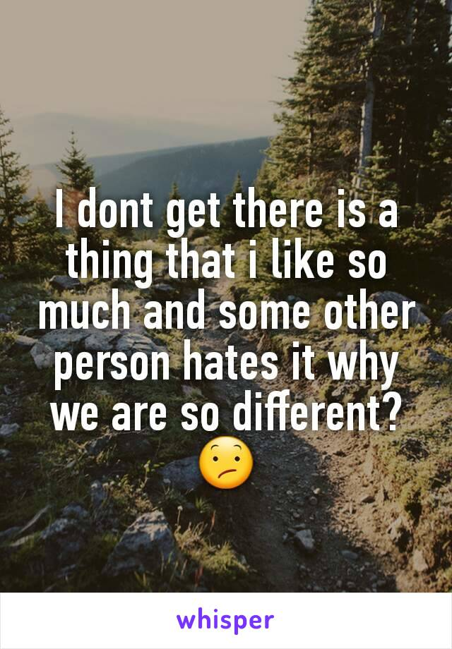 I dont get there is a thing that i like so much and some other person hates it why we are so different?😕